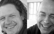 Portraitfotos der Gruppe Einmaliges Gastspiel, bestehend aus Hagnot Elischka, rechts und Anseml Lipgens, links